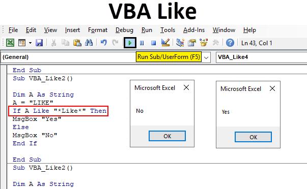 Excel VBA Like