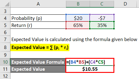 Expected Value Formula Example 1-2