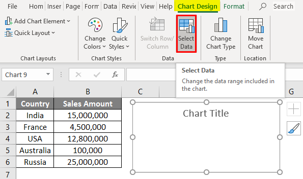 Map Chart in excel example - Step 3