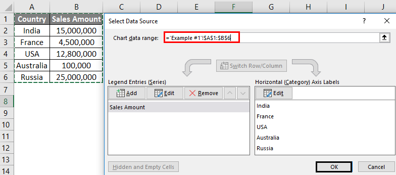 Map Chart in excel example - Step 5