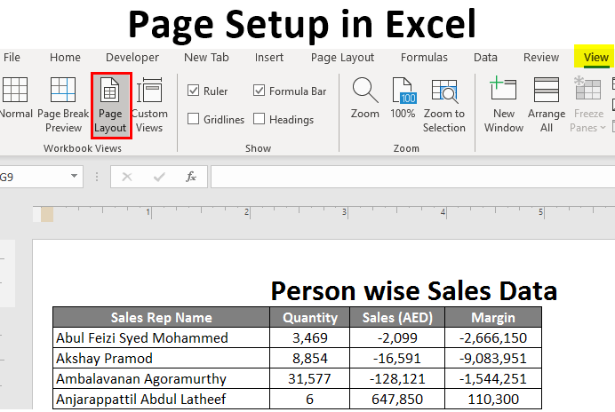 Page Setup in Excel