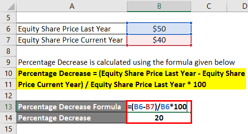 Percentage Decrease Formula Example 1-2