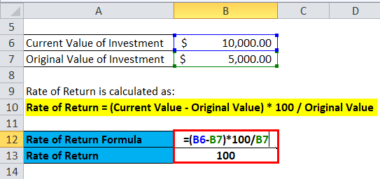 Rate of Return Example 1