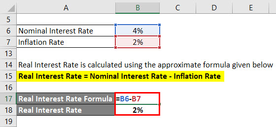 Real Interest Rate Formula Example 1-3