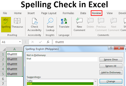 Spelling Check in Excel