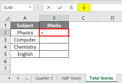 Subject and Marks example 2.4