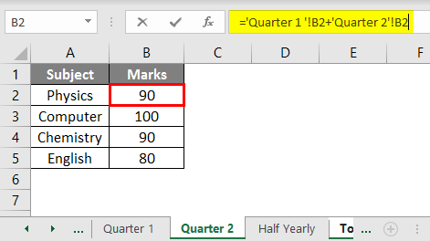 Subject and Marks example 2.6