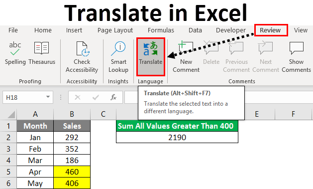 Translate in Excel