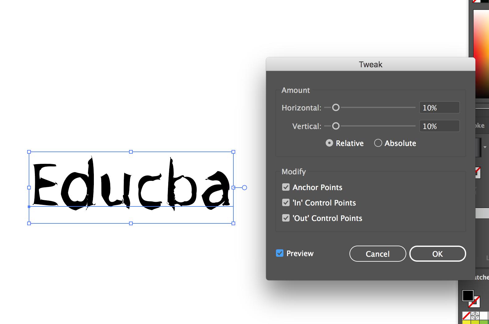 Text Effects In Illustrator (Tweak Effect)
