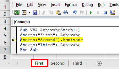 VBA Activate Sheet Example 1-8