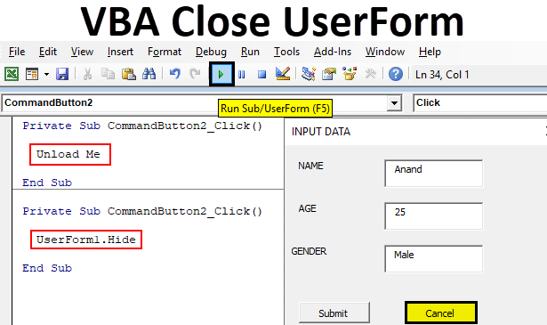 VBA Close UserForm