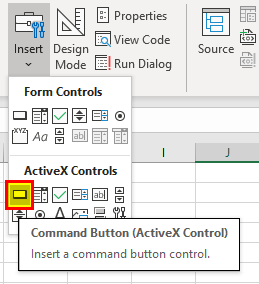 Insert command button