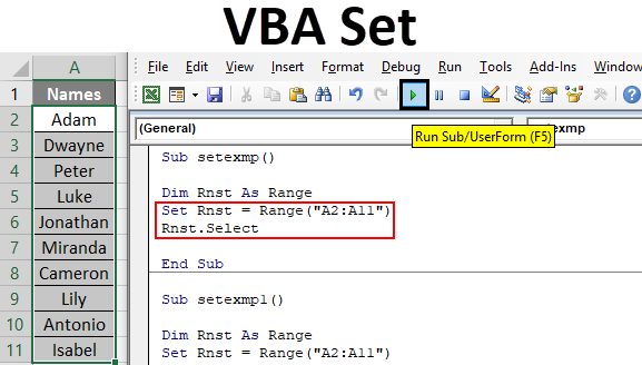 VBA Set | Assign Reference to An Object,Cell Range Using ...