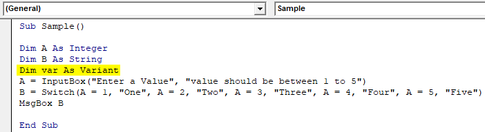 Declare Variable Example 1-11