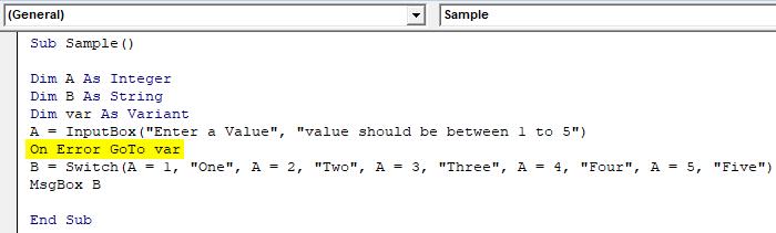 On Error Go to Example 1-12