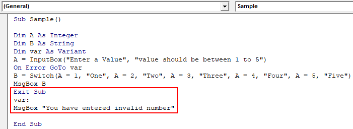 VBA Switch Example 1-13