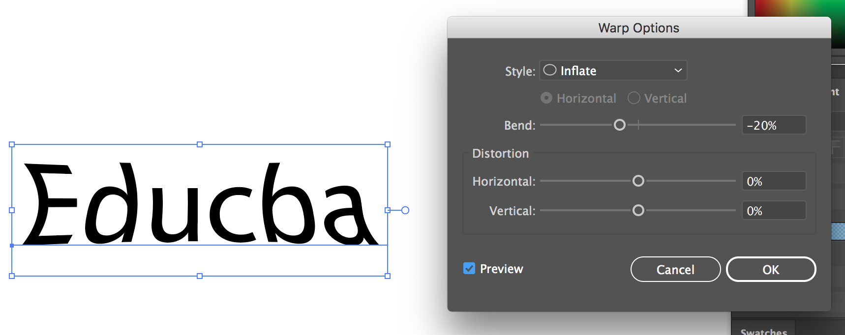 Text Effects In Illustrator (Warp inflate effect)