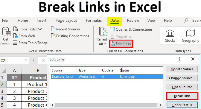 break links in excel