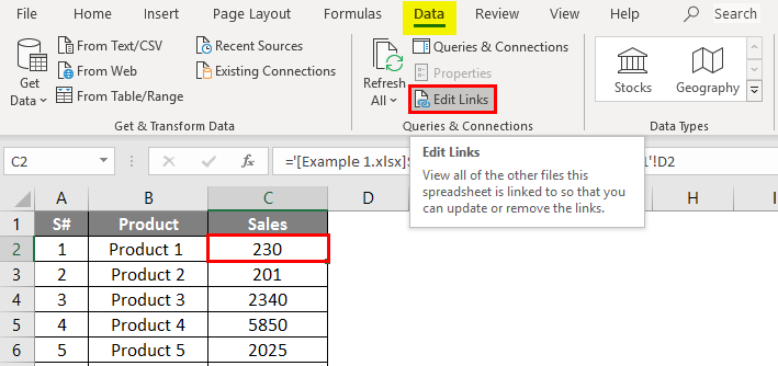 breaks link in excel 1-7