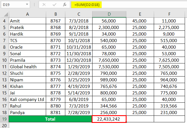 column header in excel example 1-3