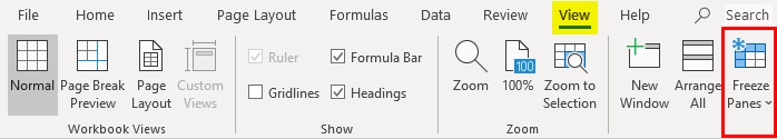 column header in excel example 1-6