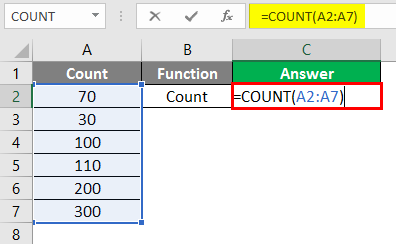 Excel Calculations -count function 2