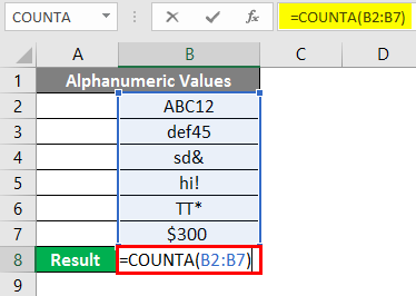COUNTA Function in Excel 3-1