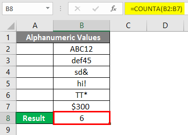 COUNTA Function in Excel 3-2