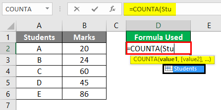 Count Formula with Name Box - 1
