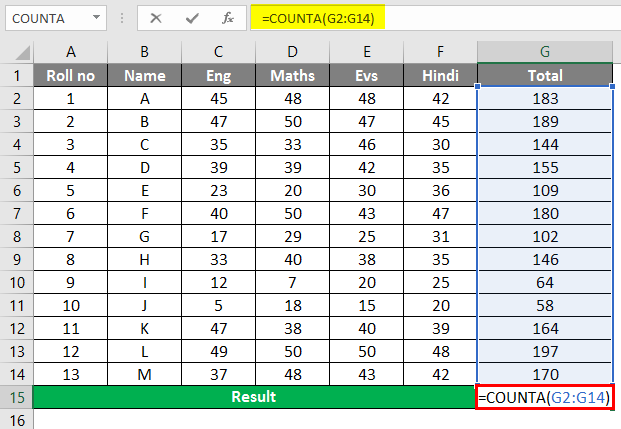 COUNTA function in Excel 1-1
