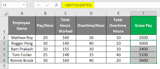 payroll in excel 1-6