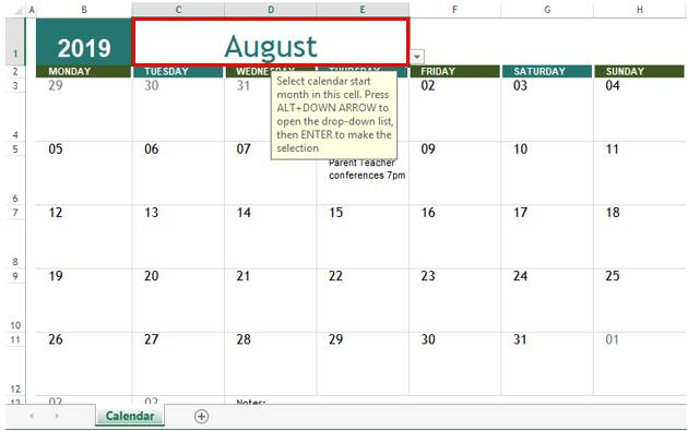 selected calendar template