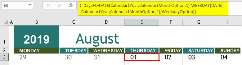 insert calendar in excel 1-6