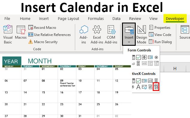insert calendar in excel