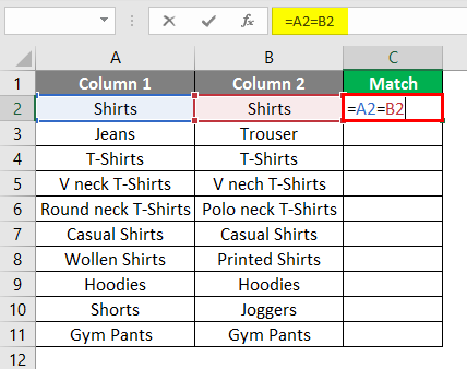matching column in excel example 1-2