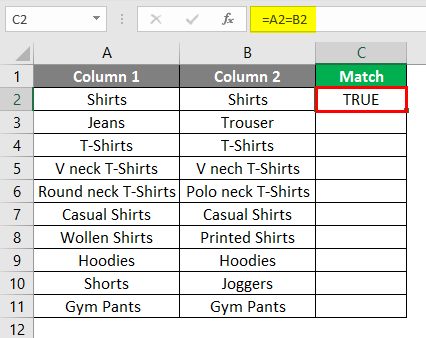 matching column in excel example 1-3
