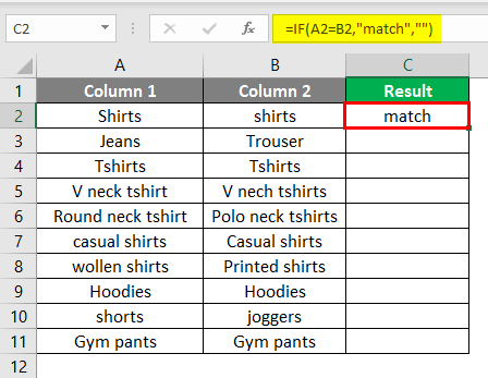 matching column in excel example 2-4