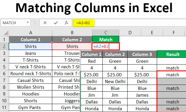matching columns in excel