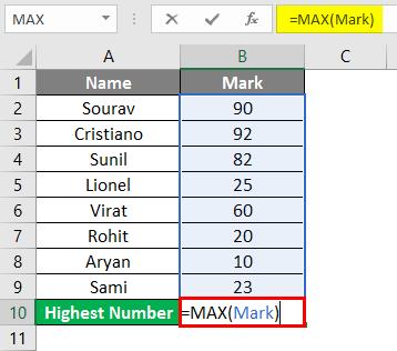 MAX Formula in Excel 2-4
