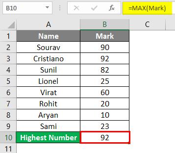 MAX Formula in Excel 2-5