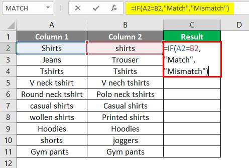 mismatch formula