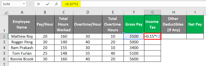 payroll in excel 1-7