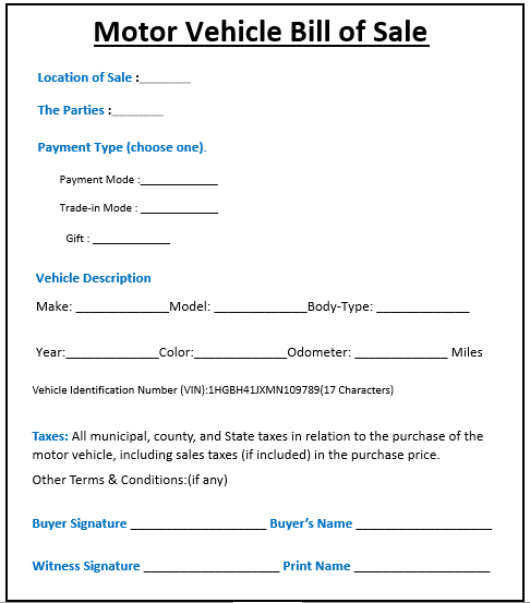 Motor Vehicle Bill -1