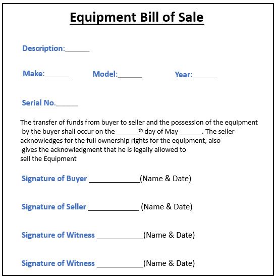 Equipment Bill of Sale -3