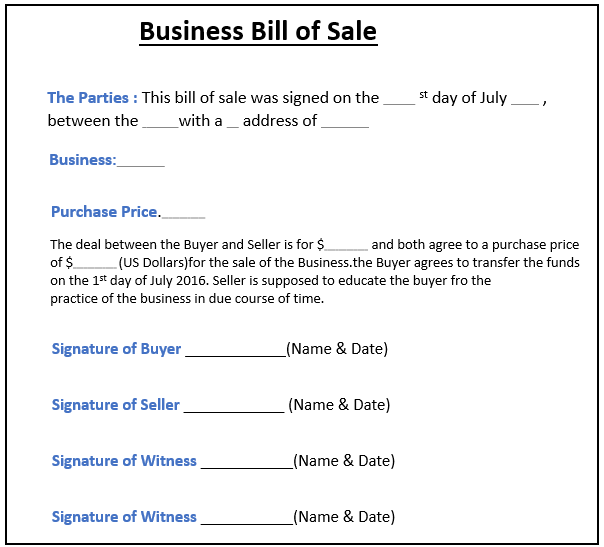 Bills of Sales Example -4