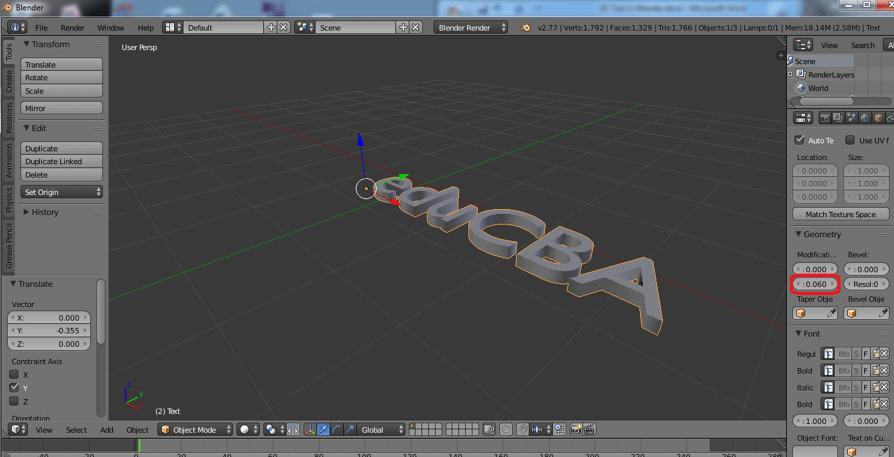 Step 4 (3d text in blender)