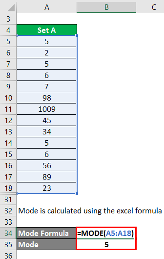 Calculation of Mode Example 1-4