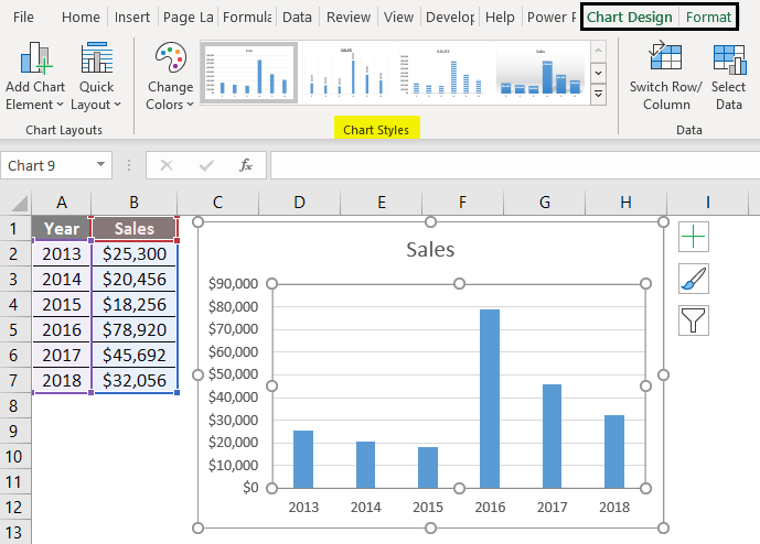 Change Chart Style in Excel 1-7