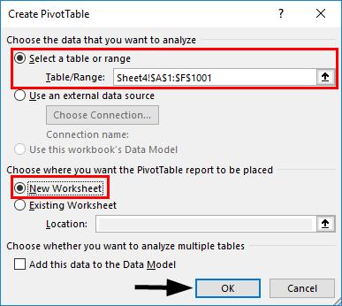Insert Slicers for Pivot Table Data 1-3