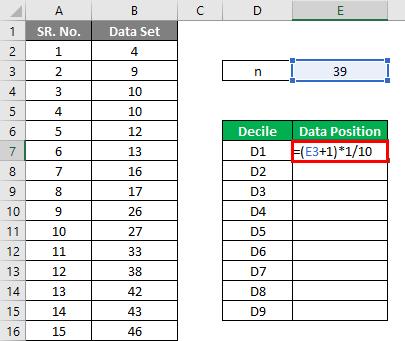 Decile Formula Example 1-3